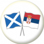 Scotland St Andrew and Serbia Friendship Flag 25mm Pin Button Badge